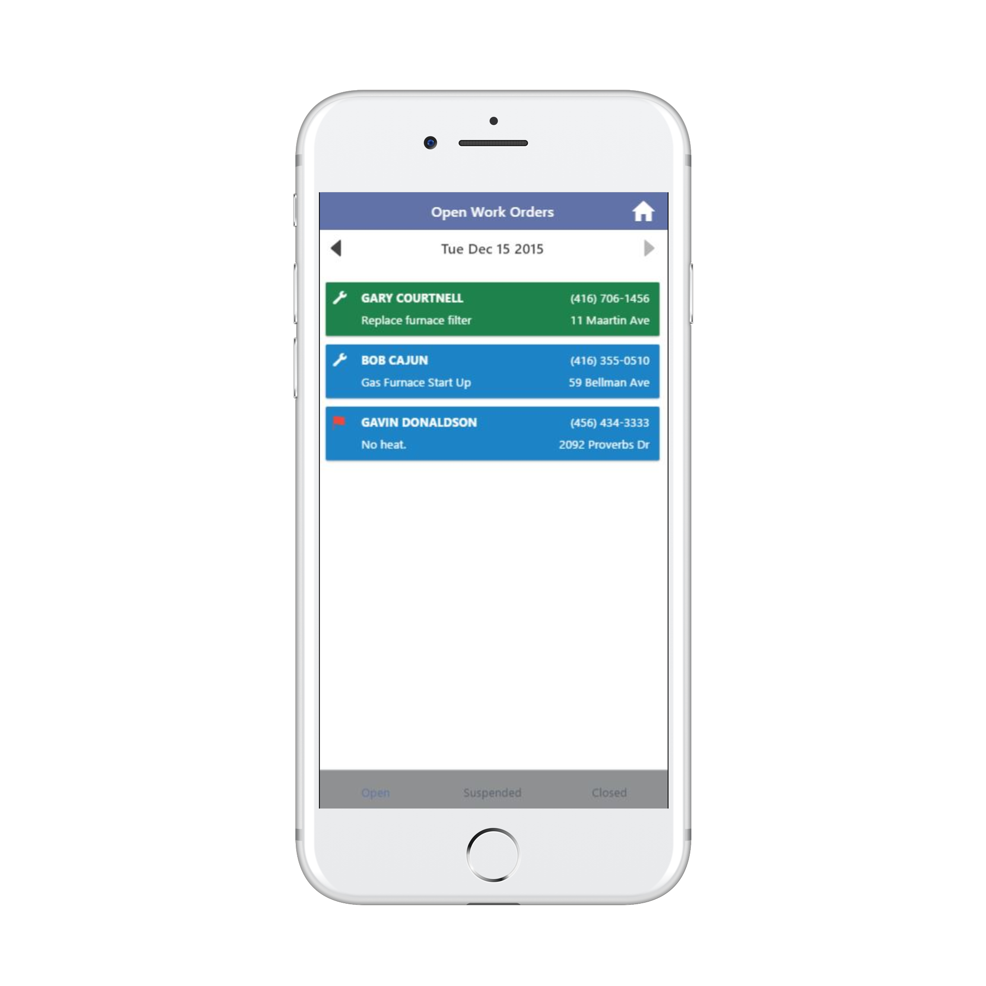Tract Systems mobile inventory management screen
