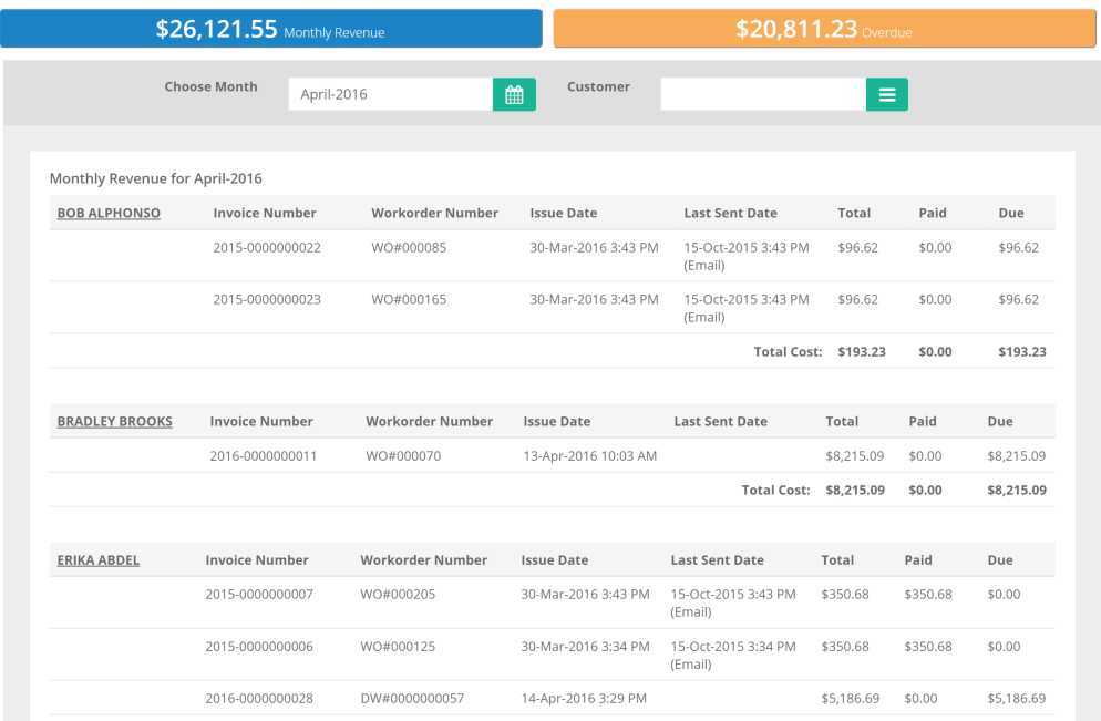Tract Systems invoicing overview