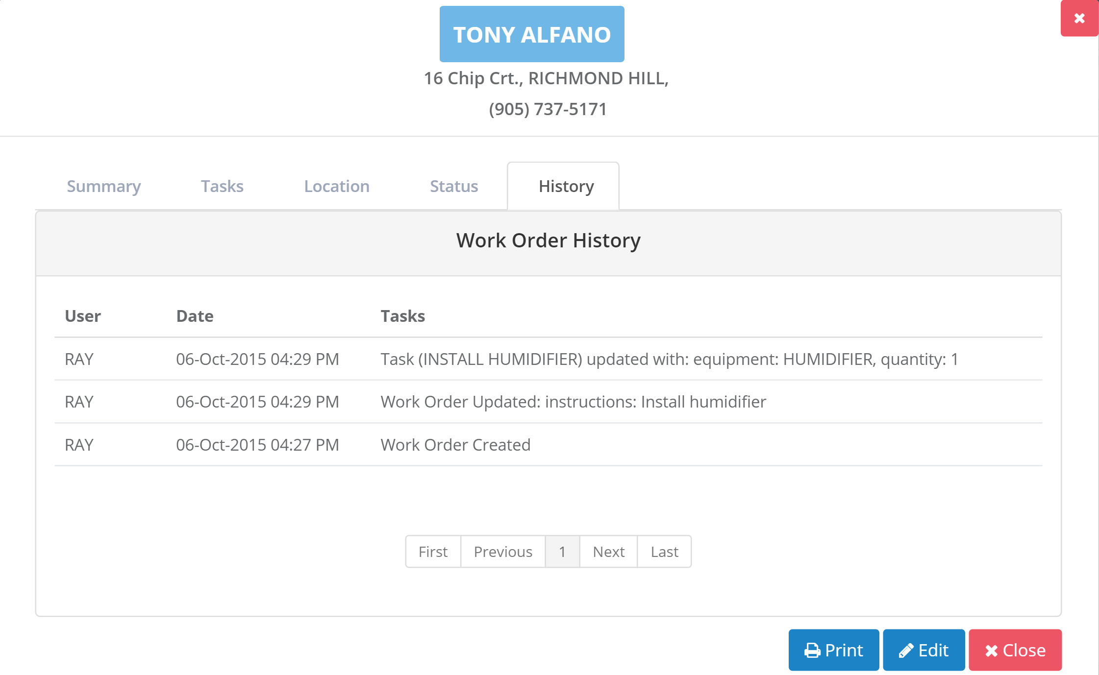 Tract Systems customer work order profile